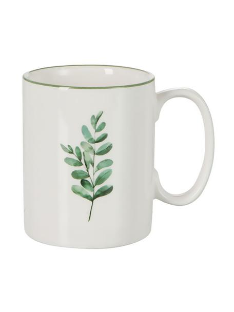 Tazza Eukalyptus 6 pz, New bone china, Bianco, verde, Ø 8 cm x Alt. 10 cm