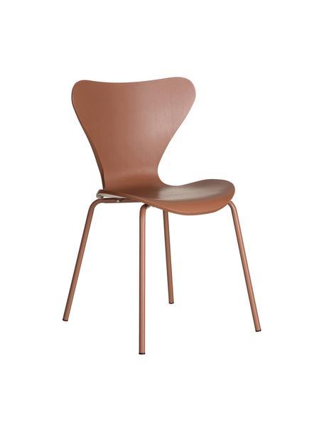 Stapelbare Kunststoffstühle Pippi, 2 Stück, Sitzfläche: Polypropylen, Beine: Metall, beschichtet, Braun, B 47 x T 50 cm