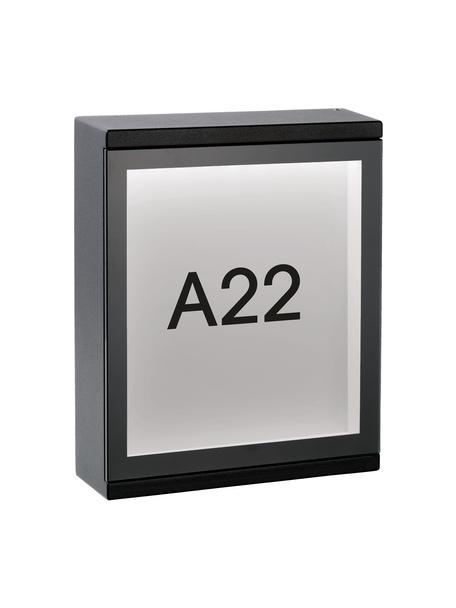 LED-Außenwandleuchte Cadra mit Hausnummer, Schwarz, 16 x 20 cm