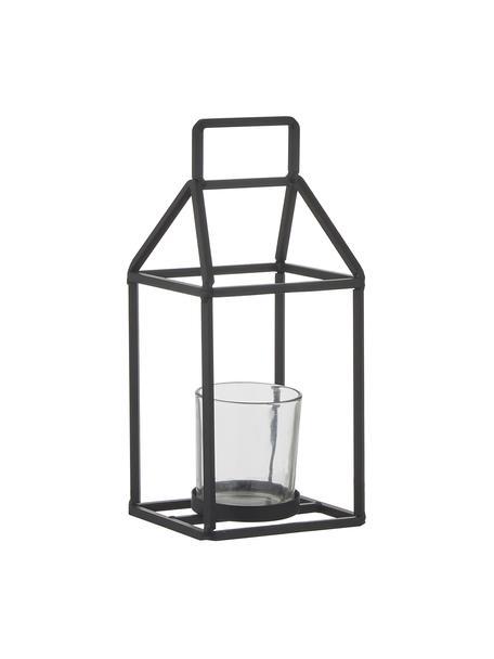 Windlicht Abbi, Windlicht: gecoat metaal, Zwart, transparant, 12 x 27 cm