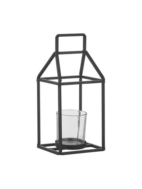 Portacandela Abbi, Portacandela: metallo, rivestito, Nero trasparente, Larg. 12 x Alt. 27 cm