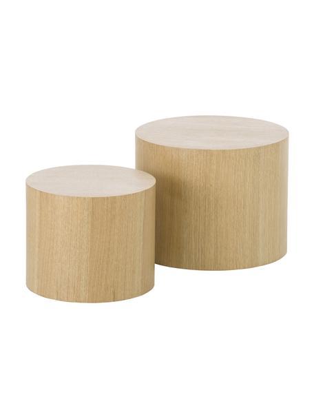 Tisch-Set Dan aus Holz, Mitteldichte Holzfaserplatte (MDF) mit Eichenholzfurnier, Hellbraun, Set mit verschiedenen Grössen