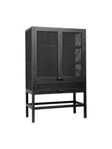 Dressoir Merge met Weens vlechtwerk, Frame: teakhout, gelakt, Zwart, 100 x 160 cm
