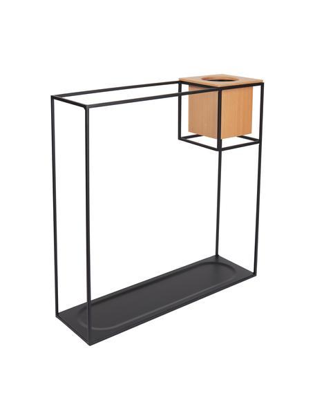Wand-Regal Cubist mit Behälter, Behälter: Eschenholz mit Kunststoff, Schwarz, Hellbraun, 38 x 38 cm