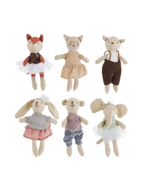 Set de peluches Friends, 6 uds., Exterior: 50% forro, 25% algodón, 2, Multicolor, An 5 x Al 16 cm