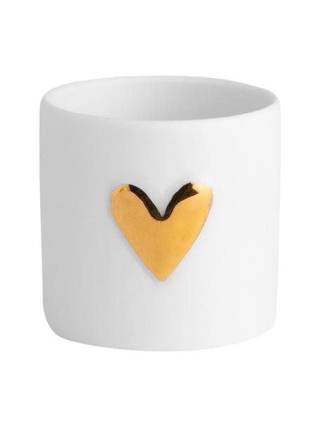 Waxinelichthouders Heart van porselein, 2 stuks, Porselein, Wit, goudkleurig, Ø 5 x H 5 cm