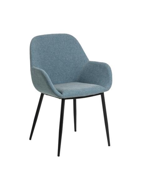 Blaue Armlehnstühle Kona, 2 Stück, Bezug: Polyester 50.000 Scheuert, Beine: Metall, lackiert, Webstoff Blau, B 59 x T 56 cm