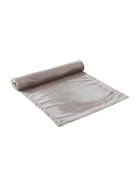 Fluwelen tafelloper Simone, 100% polyester fluweel, Grijs, 40 x 140 cm