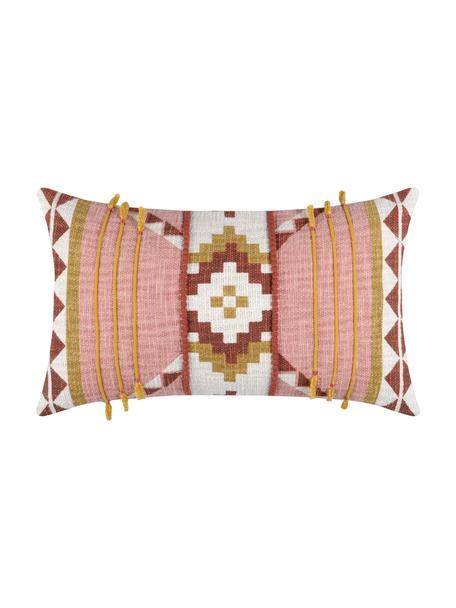 Poszewka na poduszkę Puebla, 100% bawełna, Blady różowy, żółty, ciemny czerwony, biały, S 30 x D 50 cm