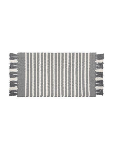 Gestreifter Badvorleger Stripes & Structure mit Fransenabschluss, 100% Baumwolle, Grau, gebrochenes Weiss, 60 x 100 cm