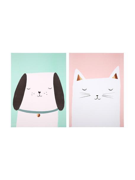 Poster-Set Cat & Dog, 2-tlg., Digitaldruck auf Papier, 200 g/m², Rosa, Grün, Weiß, Schwarz, 31 x 41 cm