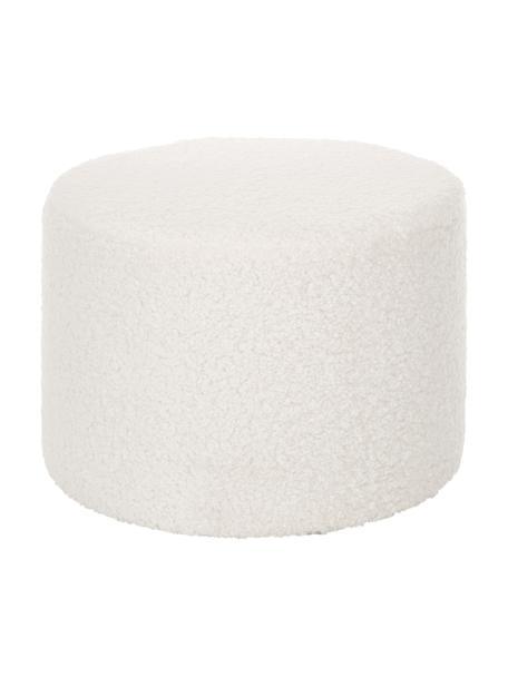 Puf de borreguillo Daisy, Tapizado: poliéster (borreguillo) 4, Borreguillo blanco crema, Ø 54 x Al 38 cm