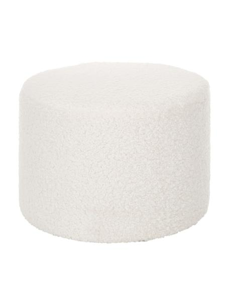 Pouf in teddy Daisy, Rivestimento: poliestere (teddy) 40.000, Struttura: compensato Imbottitura, Teddy bianco panna, Ø 54 x Alt. 38 cm