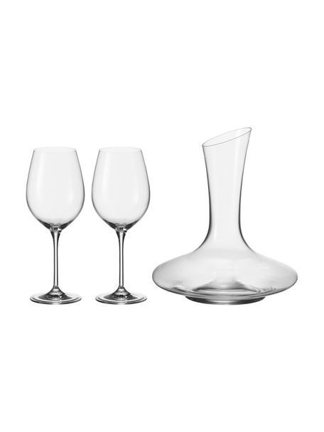 Rode wijnset Barcelona, 3-delig, Glas, Transparant, Set met verschillende formaten