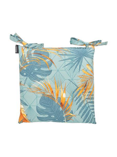 Sitzkissen Dotan mit tropischem Print, Bezug: 50% Baumwolle, 45% Polyes, Hellblau, Blau, Orange, 45 x 45 cm