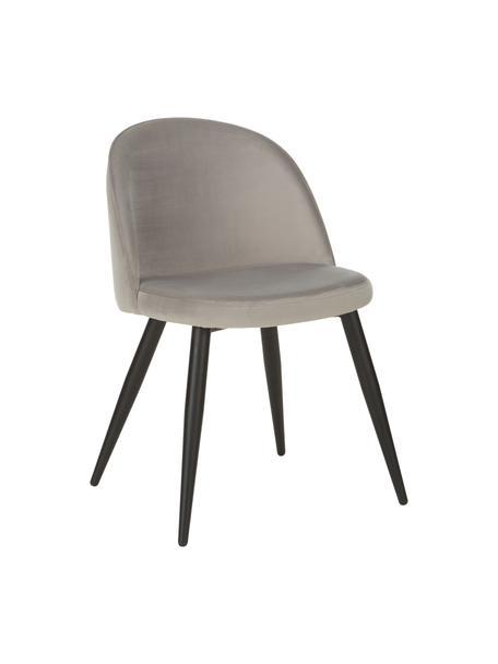 Moderne fluwelen stoelen Amy, 2 stuks, Bekleding: fluweel (polyester) De be, Poten: gepoedercoat metaal, Grijs, B 51 x D 55 cm
