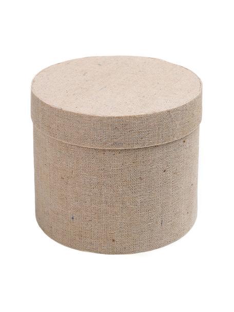 Geschenkboxen Round, 6 Stück, Baumwolle, Beige, Ø 5 cm