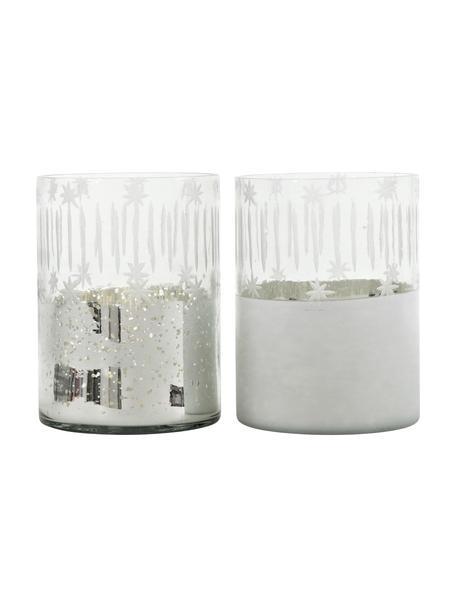 Windlichtenset Lira, 2-delig, Glas, Zilverkleurig, transparant, Ø 12 x H 17 cm