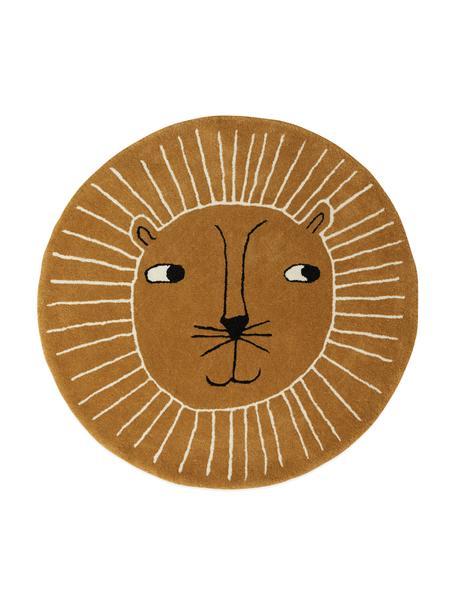 Wollen vloerkleed Lion, 80% wol, 20% katoen, Karamelbruin, zwart, wit, Ø 95 cm