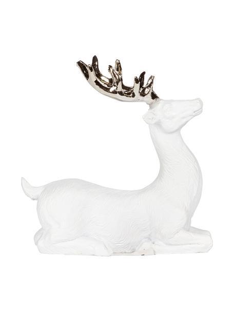 Handgefertigtes Deko-Objekt Deer, Polyresin, Weiß, Goldfarben, 9 x 9 cm