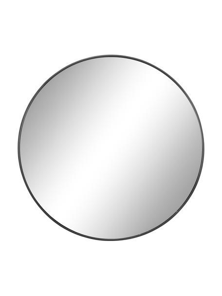 Runder Wandspiegel Ada mit dunkelgrauem Rahmen, Rahmen: Metall, verzinkt, Spiegelfläche: Spiegelglas, Rückseite: Mitteldichte Holzfaserpla, Dunkelgrau, Ø 60 cm