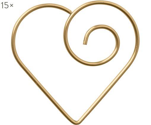 Büroklammern Herz, 15 Stück, Metall, beschichtet, Messingfarben, 3 x 3 cm