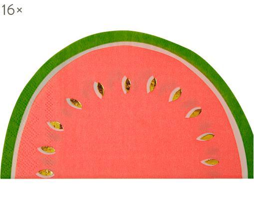 Tovaglioli di carta Watermelon 16 pz, Carta, Rosso, verde, dorato, Larg. 20 x Lung. 17 cm
