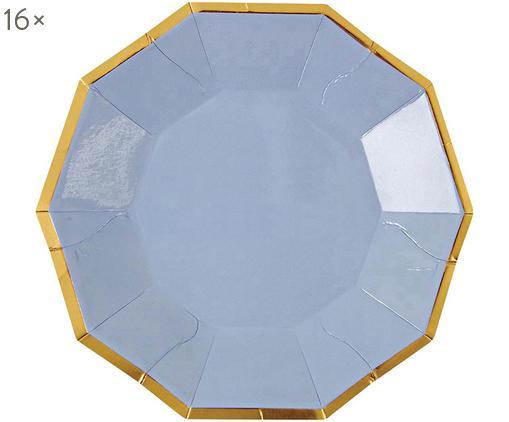 Platos de papel Bloom, 16uds., Papel, recubierto, Azul claro, dorado, An 11 x Al 11 cm