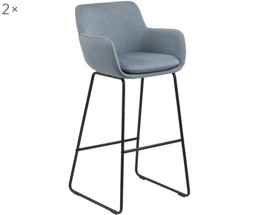 Krzesło barowe Lisa, 2 szt., Tapicerka: poliester, Stelaż: metal malowany proszkowo, Szaroniebieski, 51 x 103 cm