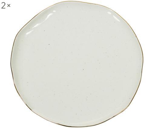 Piatto piano fatto a mano Bol 2 pz, Porcellana, Bianco crema, Ø 26 x Alt. 3 cm