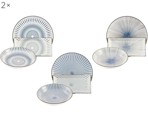 Service de table Skiathos, 6 personnes (18élém.), Tons bleus, blanc cassé Bord: anthracite