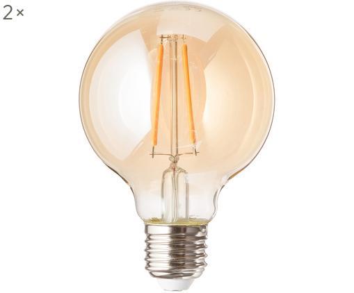 LED Leuchtmittel Jukar (E27 / 1.9Watt) 2 Stück, Leuchtmittelschirm: Glas, Leuchtmittelfassung: Aluminium, Bernsteinfarben, Ø 8 x H 12 cm