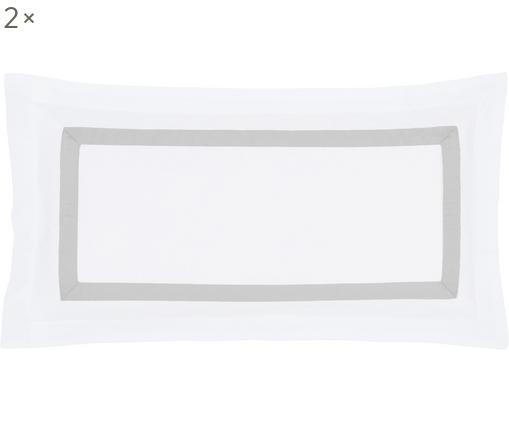 Baumwollsatin-Kissenbezüge Nora in Weiß/Hellgrau, 2 Stück, Webart: Satin Fadendichte 400 TC,, Weiß, Hellgrau, 40 x 80 cm