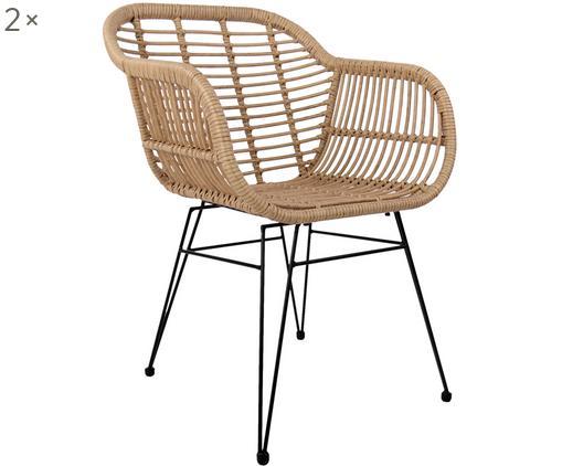 Chaises à accoudoirs en polyrotin Costa, 2pièces, Assise et dossier: couleur naturelle Structure: noir, mat