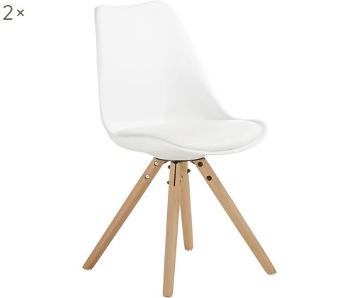 Sedia con seduta in similpelle Max 2 pz, Seduta: similpelle (poliuretano) , Seduta: materiale sintetico, Gambe: legno di faggio, Seduta: bianco Gambe: legno di faggio, Larg. 46 x Prof. 54 cm