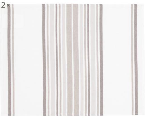 Tovaglietta americana Katie 2 pz, Cotone, Bianco, beige, Larg. 40 x Lung. 50 cm