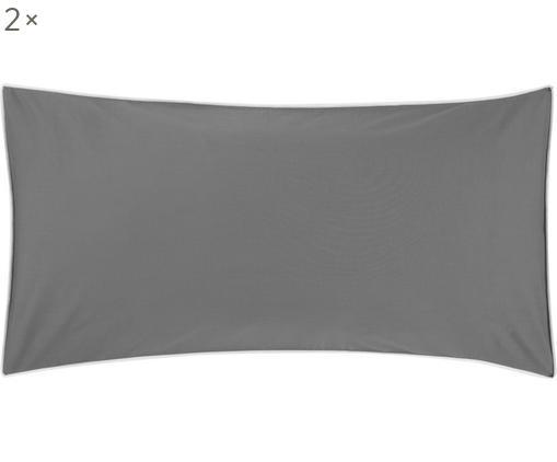 Poszewka na poduszkę z perkalu z lamówką Daria, 2 szt., Ciemny szary Wykończenie brzegów: biały, S 40 x D 80 cm