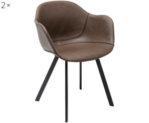 Armlehnstühle Lounge, 2 Stück, Bezug: Kunstleder mit Kunststoff, Beine: Stahl, pulverbeschichtet, Sitzschale: BraunBeine: Schwarz, B 50 x T 52 cm