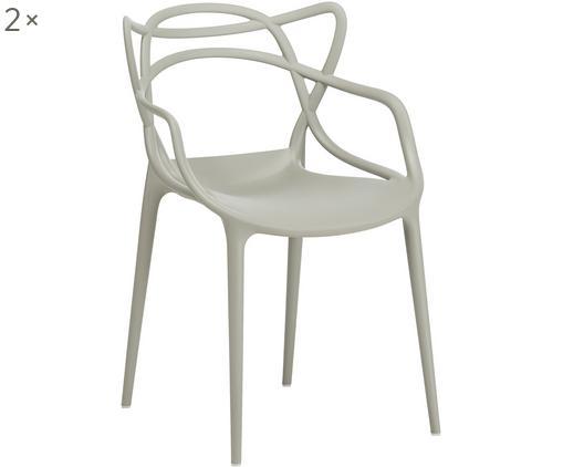 Sedia con braccioli Masters 2 pz, Polipropilene, Grigio, Larg. 57 x Alt. 84 cm