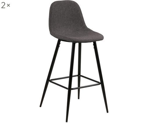 Sedia da bar Wailma 2 pz, Rivestimento: poliestere, Struttura: metallo verniciato, Grigio, Larg. 44 x Alt. 91 cm