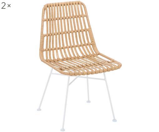 Krzesło z polirattanu Tulum, 2 szt., Stelaż: metal malowany proszkowo, Siedzisko: jasny brązowy, nakrapiany Stelaż: biały, matowy, S 47 x G 62 cm
