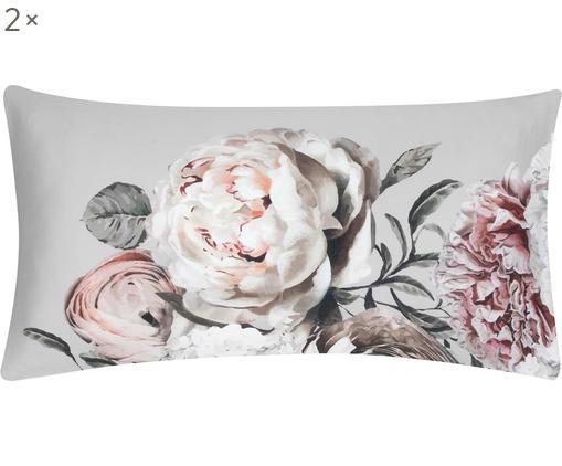Baumwollsatin-Kissenbezüge Blossom mit Blumenprint, 2 Stück, Webart: Satin, Mehrfarbig, Grau, 40 x 80 cm