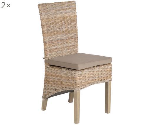 Polyrattan-Stühle Kubu im Landhausstil, 2 Stück, Grau