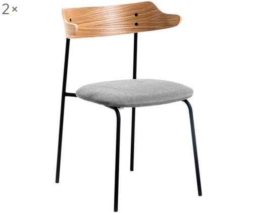 Sedia imbottita con schienale in legno Olympia 2 pz, Seduta: tessuto, Cornice: metallo, Grigio, legno di quercia, Larg. 52 x Prof. 49 cm