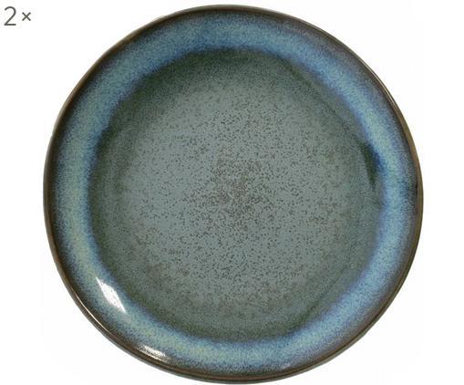 Piatto piano fatto a mano 70's, 2 pz, Ceramica, Blu, verde, Ø 18 cm