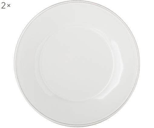 Assiettes à dessert blanches Constance, 2pièces, Blanc