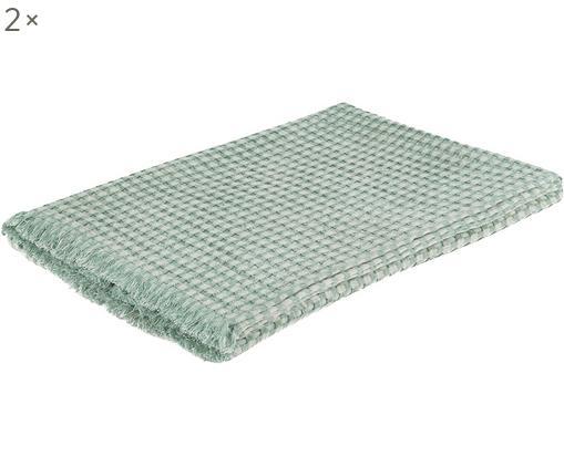 Asciugamani per ospiti Ola, 2 pz., Cotone, Verde, P 50 x L 100 cm