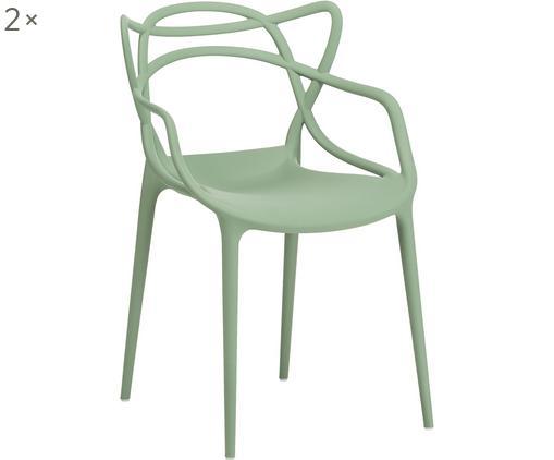 Krzesło z podłokietnikami Masters, 2 szt., Szałwiowa zielony