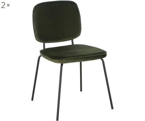 Chaise rembourrée en velours Jasper, 2pièces, Vert foncé