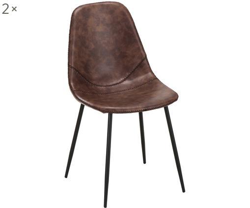 Chaises en cuir synthétique rembourrées Linus, 2pièces, Revêtement: brun Pieds: noir, mat